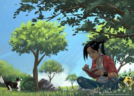 reading_a_book_in_the_shadow_of_a_tree_by_tonton_jojo-da27wug